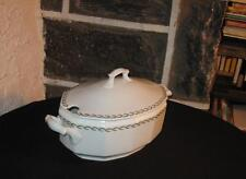Vintage Tureen wonderful old pure white with fern&flower ring design