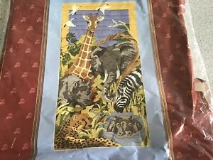long stitch kit semco African Animals Tapestry Unworked Canvas Please Read Info