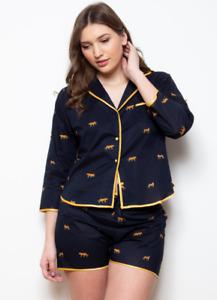 Ladies 100% Cotton Leopard Shortie Cottonreal Pyjamas/Loungewear