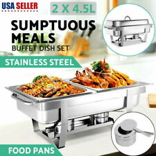 2Slot 9L Dish Chafing Buffet Catering Folding Chafer Set Stainless Steel w/ Tray