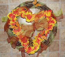 "Monarch Butterfly 18"" Heart Grapevine Thanksgiving Wreath Handmade Vintage Roses"