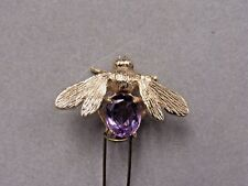 14k GOLD WITH REAL AMETHYST BUMBLE BEE PIN BROOCH 6.7 GRAMS (10288-GOLD-MSS)
