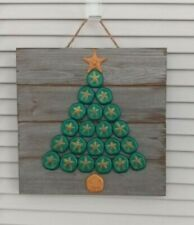 Shell Christmas Tree Wall Decor~~Green & Gold Colors~~Sea Biscuit Shells~~