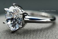 ROUND CUT WHITE 14K GOLD SOLITAIRE WEDDING ENGAGEMENT RING BRILLIANT 3.0 CT