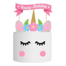 Cute DIY Unicorn Glitter Cake Topper Candle Kids Baby Happy Birthday Party Decor