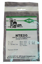 """NTE20 Silicon NPN Transistor: High Pwr, Low Collector Sat: M"""" Type Case: New"""