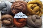 Merino & Shetland Wool roving/ tops / Felting, needle felting, animal browns 60g