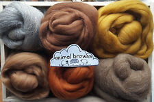 Merino & Shetland Wool roving/ tops / Felting, needle felting, animal browns 60g
