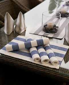 Alfresco 6PC Stripe Placemat 100%Cotton Party Wedding Event Dining Table 50% OFF
