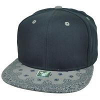 Navy Gray Bandana Print Pattern Flat Bill Hat Cap Snapback Plain Blank Solid