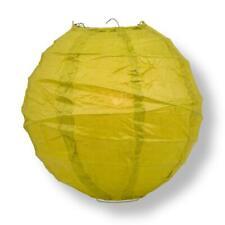 "16"" Chartreuse Yellow Green Paper Lantern, Crisscross Ribbing, Hanging Decorati"