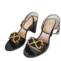 Kate Spade women sandals Odelia black patent leather heel shoes  Sz 7.5 new