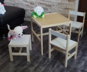 Kindertisch Kinderstuhl KinderHocker Kindersitzgruppe Kinder Möbel Massiv Weiß!!