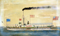 "perfect oil painting handpainted on canvas ""steamboat on the Hudson River""@N9670"