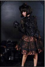 RQ-BL Gothic Lolita Steampunk Skirt Cosplay Hyper Japan Black Brown Size M