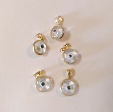 Sterling Silver  Gold Plated Clear Glass Evil Eye Pendants: 5 Pieces