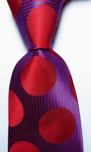 New Classic Striped Dot Red Blue JACQUARD WOVEN Silk Men's Tie Necktie