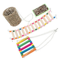 3 Pcs Parrot Cage Hanging Toy Set,Pack of Parrot Wood Ladder,Swing and Nest