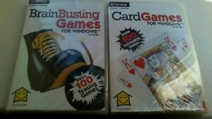 Brain Busting Games & Card Games 2 x PC CD-ROM for Windows 95,98,ME. Brand new.