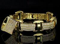Mens 2pc Bracelet Ring Set 14k Gold Plated Hip Hop Fashion