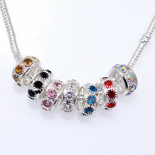 10x Rhinestone Crystal Silver Plated Rondelle Charm Bracelet Spacers Beads 12mm