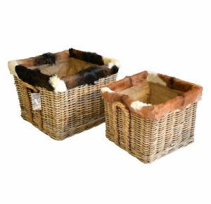 Grey rattan bes Log Baskets With Goat Skin Trim Lined on Wheels Jute Liner Rope
