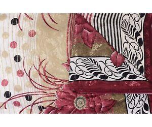 Vintage Pure Soie Sari Blanc Marron Imprimé Loisirs Créatifs Décor Couture Tissu
