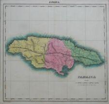 Original 1822 Carey & Lea Map JAMAICA Negro Towns Kingston Port Royal Maroon War