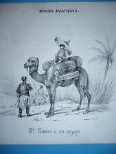 GRAVURE  1841 MŒURS ASIATIQUES  DROMADAIRE SIAMOIS EN VOYAGE