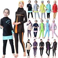 Lady Girls Islamic Muslim Swimwear Burkini Full Cover Modest Swimming Costumes