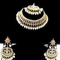 Gold Plated Kundan Necklace Earrings Tikka Bridal Indian Choker Jewelry-
