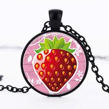 Strawberry photo Black Dome Glass Cabochon Necklace chain Pendant #477