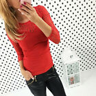 Fashion Womens Long Sleeve Shirts Casual Lace Crochet Blouse Cotton Tops T-shirt