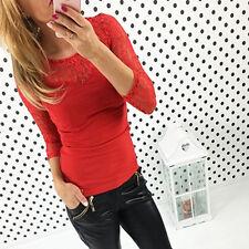 Damen Freizeit Langarm Bluse Tops Schulterfrei Oberteile T-Shirt Hemd Sweatshirt