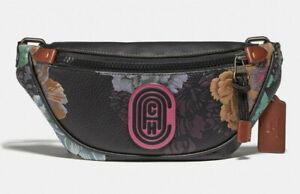 Coach mini rivington belt bag Leather w/kaffe fassett print ~NWT~ 78561