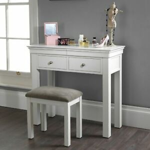 Jolie Oak White Painted Bedroom Furniture Dressing Table with Drawers and Stool