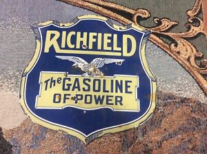 Vintage Richfield Gasoline Porcelain Sign