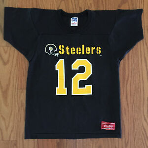 Vtg 80s Terry Bradshaw Pittsburgh Steelers Jersey Shirt Youth L Adult XS Rawling
