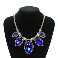 Crystal Gems Pendant Necklace Women Short Chain Collar Bib Statement Jewellery