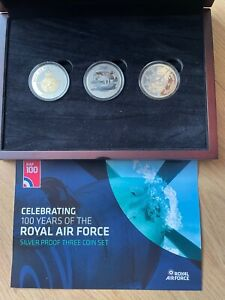 Celebrating 100 years of the RAF Silver Proof 3 Coin Set - £5's each - stunning