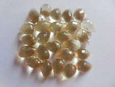 AAA Hydro Citrine Quartz Micro Faceted Top Side Drilled Teardrop Beads 13x8mm