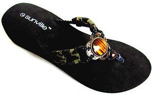 Black Beaded Braided Strap EVA  Wedge Thongs Flip Flops Sandals