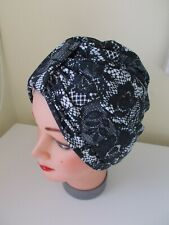 TURBAN black white LACE VINTAGE LOOK 1940 SWING HAT HEAD SCARF chemo pin up