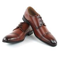 Men's Brown Dress Cap Toe Perforation Lace Up Leather Lining VENADO By Parrazo