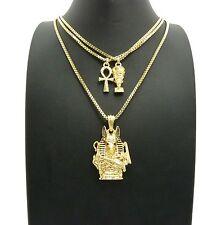 "Egyptian Mini Nefertiti, Ankh, Anubis Pendant & 20"",24"" Box Chain 3 Necklace Set"