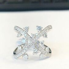 Ring In Solid 14k White Gold 1.50Ct White Round Moissanite 2 Shank Engagement