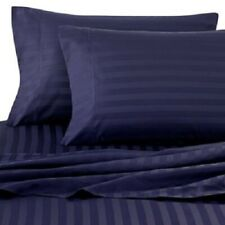 Attached Waterbed Sheet Set Pima Cotton 1000 TC All Size Navy Blue Stripe