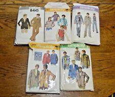 Vtg SIMPLICITY Men's Patterns (Lot of 5) Shorts Jackets and Shirts