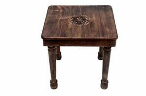 Wooden Square Carved Side / End / Corner Table 30x30 cms Furniture