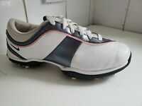 NIKE POWER CHANNEL WOMEN TAC SPIKES GOLF PINK WHITE GREY LEATHER SHOES UK 4 37.5